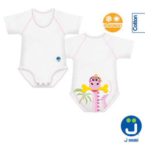 J BIMBI – Body in Bio Cotone 4 Season 0-36 mesi D&D Collection Dinosauro Rosa - Iperbimbo