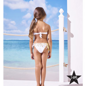 I Am Bikini - Bikini Bianco Con Frange Dorate Bambina Junior